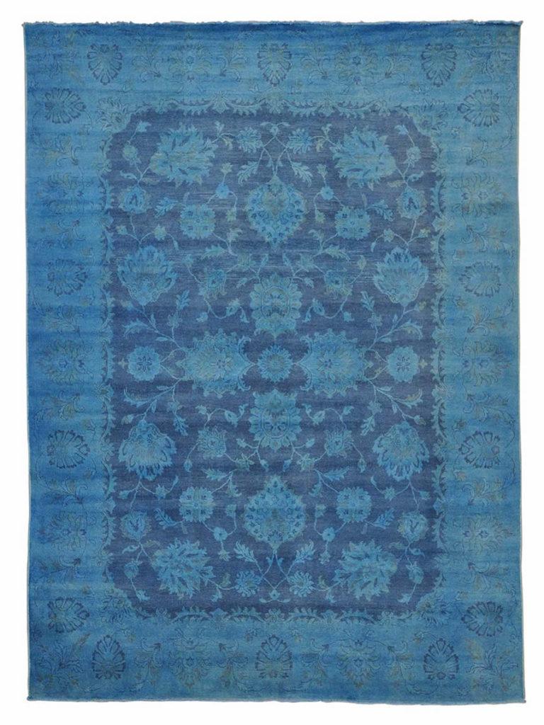 OVERDYED PESHAWAR NAVY BLUE 100% WOOL HANDMADE ORIENTAL RUG