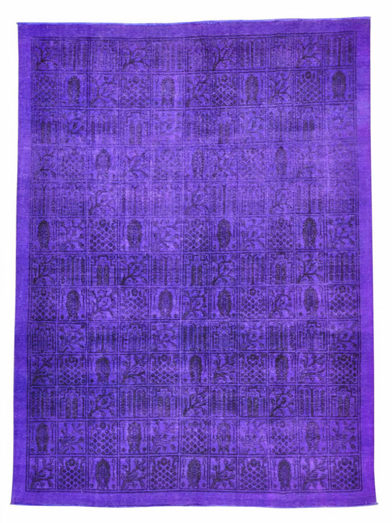 PURPLE OVERDYED PERSIAN BAKHTIARI HAND KNOTTED ORIENTAL RUG