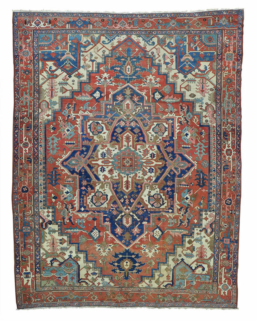 ANTIQUE PERSIAN SERAPI GOOD COND HAND KNOTTED ORIENTAL RUG