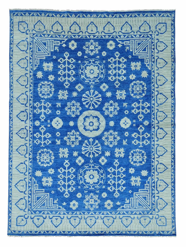HAND KNOTTED DENIM BLUE KHOTAN PURE WOOL ORIENTAL RUG