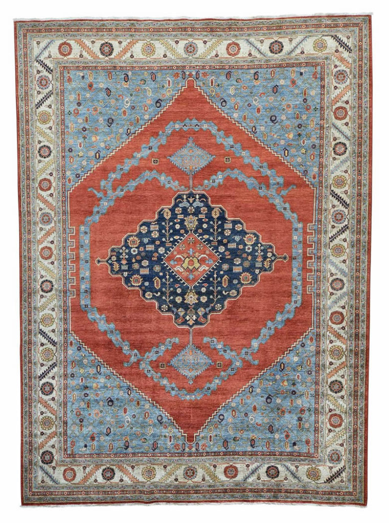 ANTIQUED BAKSHAISH VEGETABLE DYES HAND KNOTTED ORIENTAL RUG
