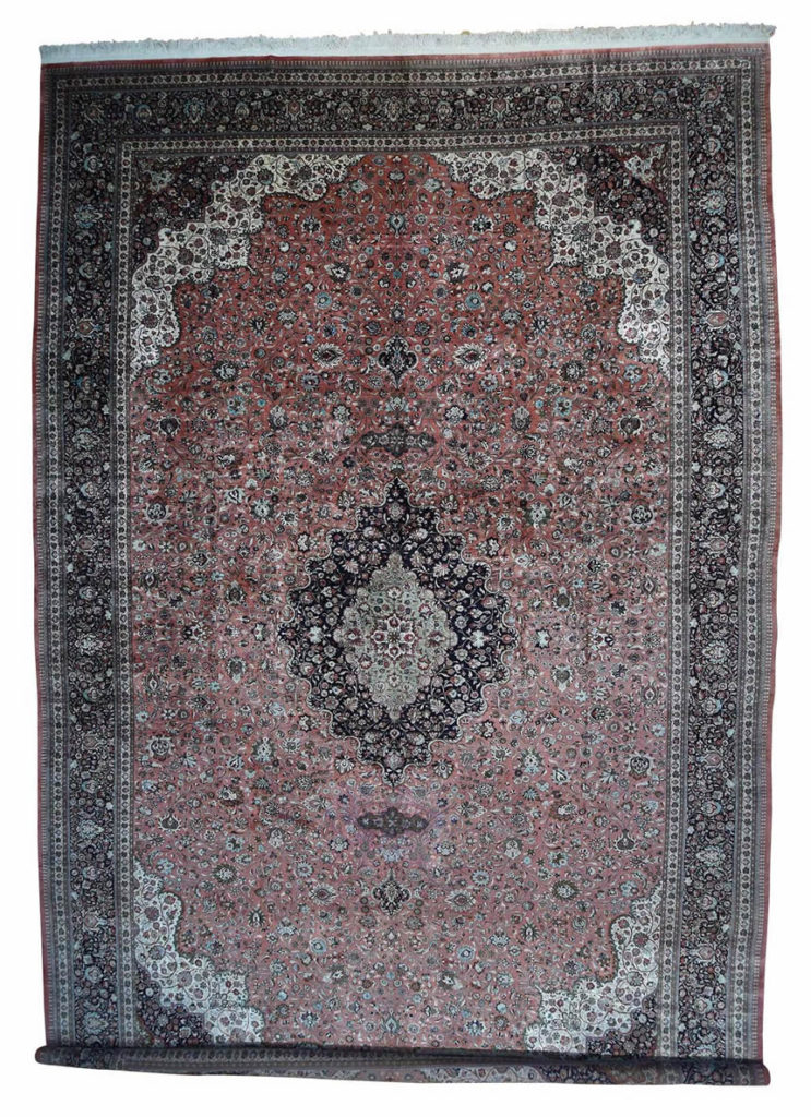 HAND-KNOTTED MANSION SIZE SILK QUM ORIENTAL CARPET