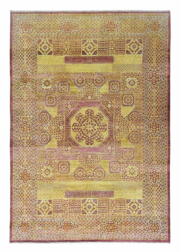 GOLD EGYPTIAN MAMLUK PURE WOOL HAND-KNOTTED ORIENTAL RUG