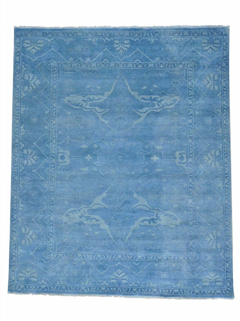 overdyed oushak blue rug