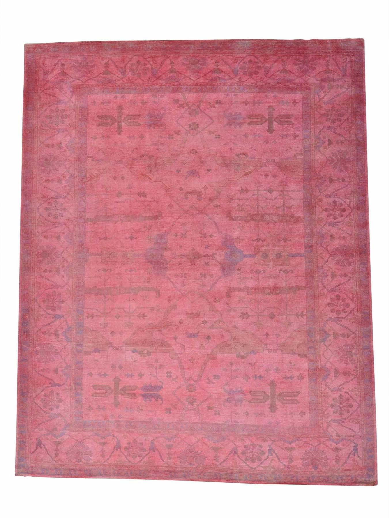 overdyed oushak pink rug