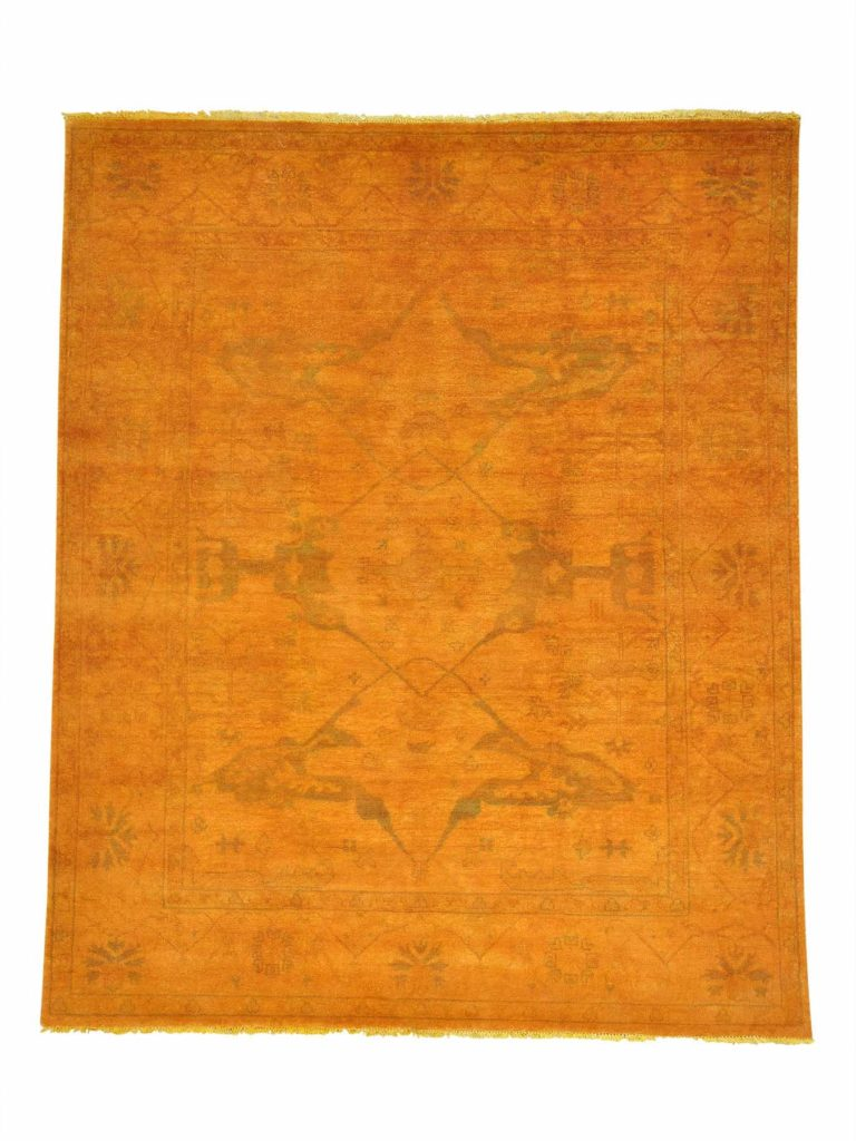 overdyed oushak yellow rug