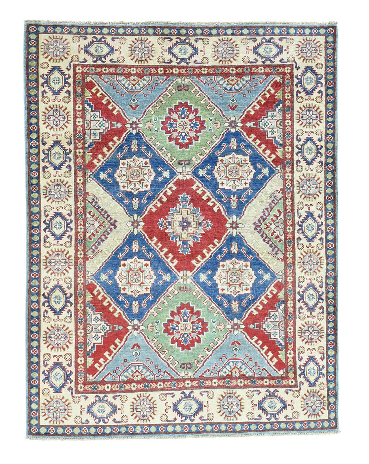 Tribal 5'4x7'1 Hand-Knotted Kazak Tribal And Geometric Design Pure Wool Rug
